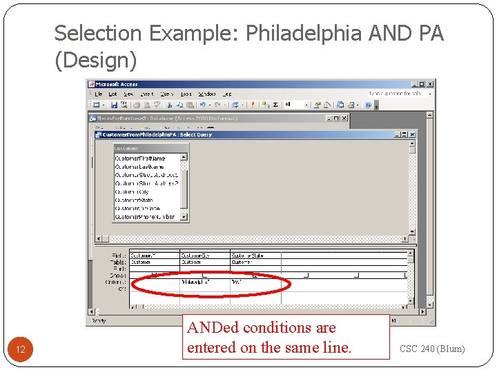 Selection Example: Philadelphia AND PA (Design) 12 ANDed conditions are entered on the same