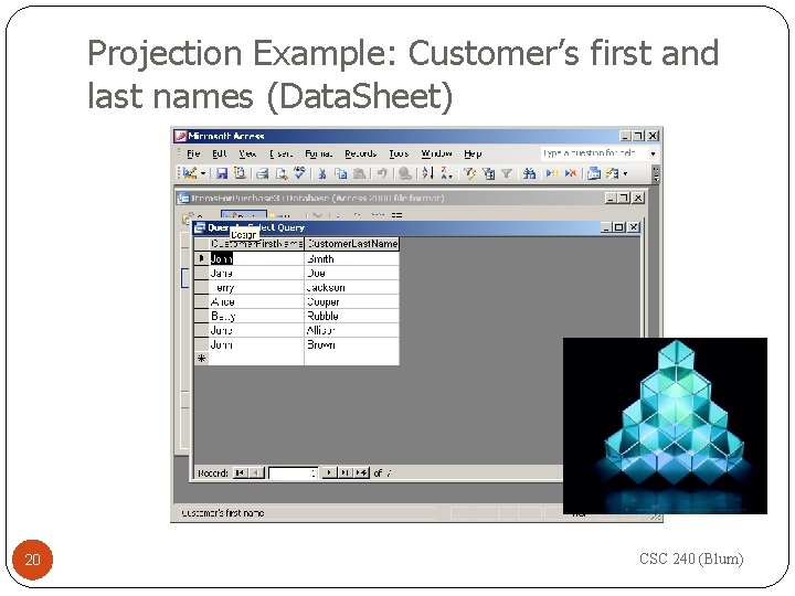 Projection Example: Customer's first and last names (Data. Sheet) 20 CSC 240 (Blum)