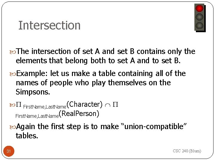 Intersection The intersection of set A and set B contains only the elements that