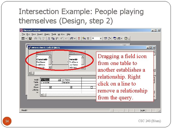 Intersection Example: People playing themselves (Design, step 2) Dragging a field icon from one