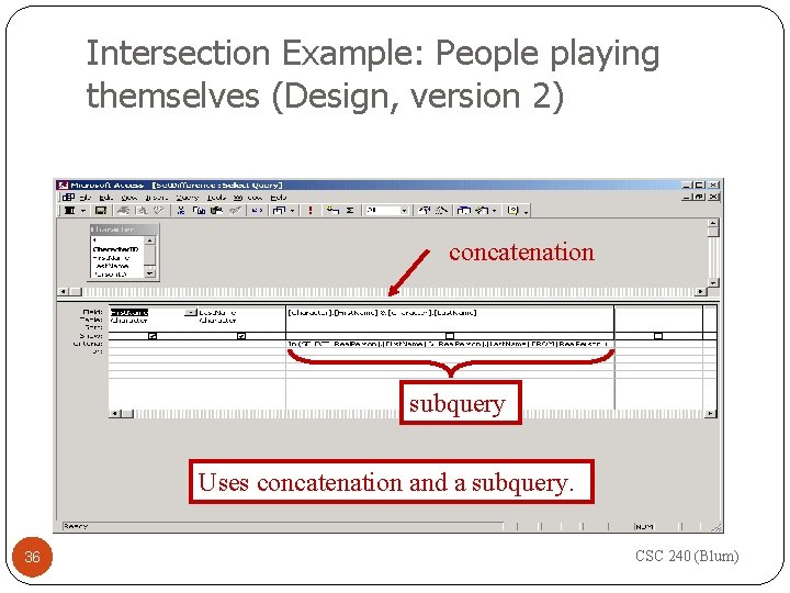 Intersection Example: People playing themselves (Design, version 2) concatenation subquery Uses concatenation and a