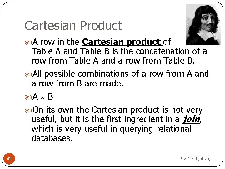 Cartesian Product A row in the Cartesian product of Table A and Table B