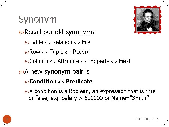 Synonym Recall our old synonyms Table Relation File Row Tuple Record Column Attribute Property