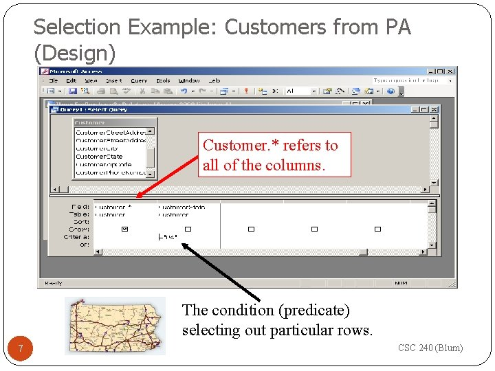 Selection Example: Customers from PA (Design) Customer. * refers to all of the columns.