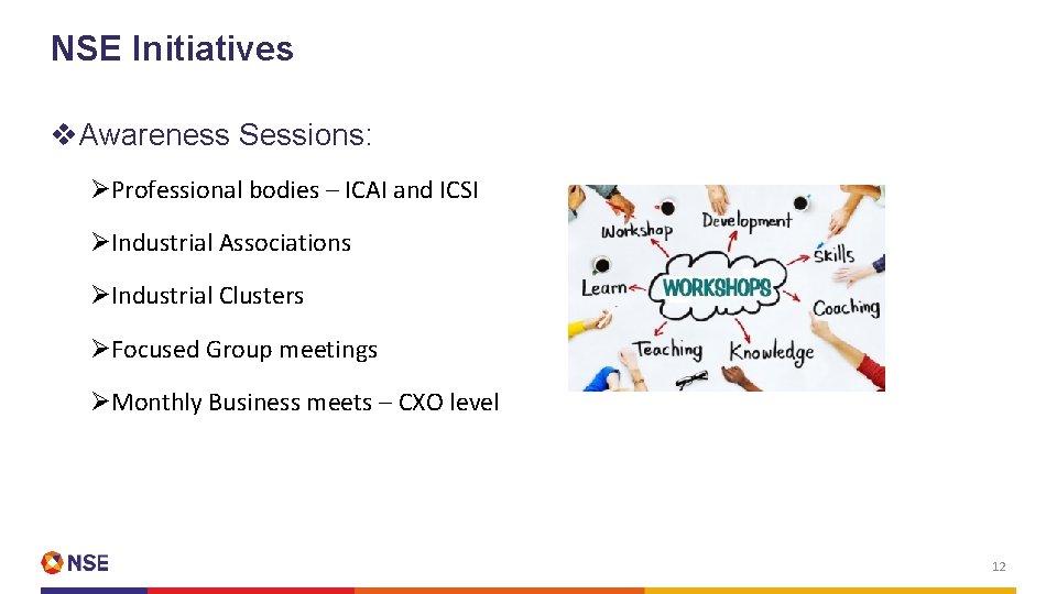 NSE Initiatives v. Awareness Sessions: ØProfessional bodies – ICAI and ICSI ØIndustrial Associations ØIndustrial