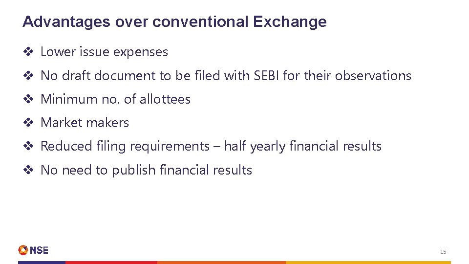 Advantages over conventional Exchange v Lower issue expenses v No draft document to be