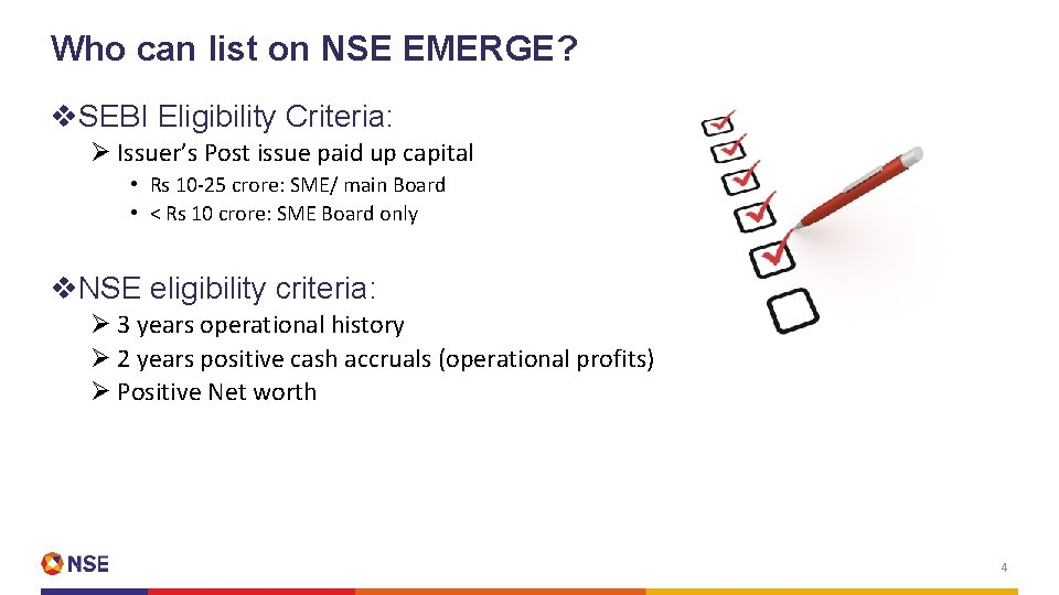 Who can list on NSE EMERGE? v. SEBI Eligibility Criteria: Ø Issuer's Post issue