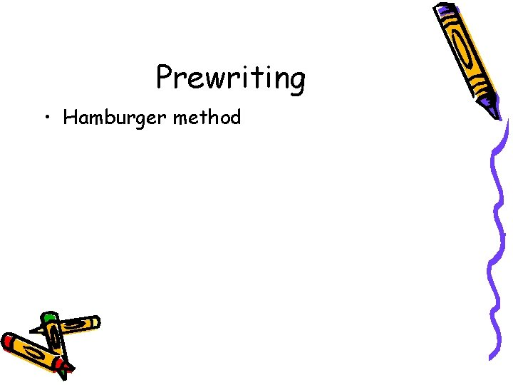 Prewriting • Hamburger method
