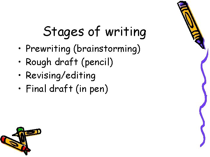 Stages of writing • • Prewriting (brainstorming) Rough draft (pencil) Revising/editing Final draft (in