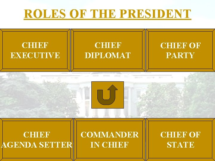ROLES OF THE PRESIDENT CHIEF EXECUTIVE CHIEF DIPLOMAT CHIEF COMMANDER AGENDA SETTER IN CHIEF