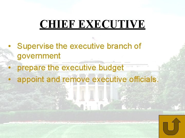 CHIEF EXECUTIVE • Supervise the executive branch of government • prepare the executive budget