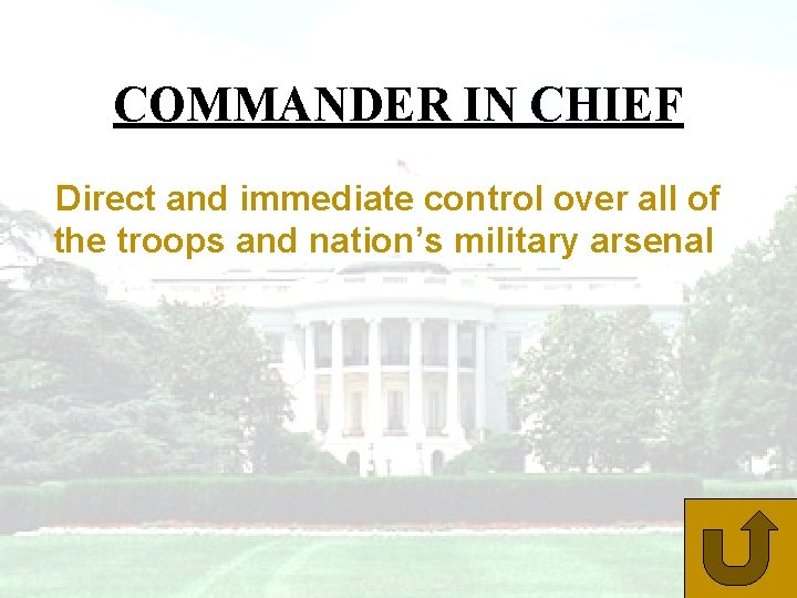 COMMANDER IN CHIEF Direct and immediate control over all of the troops and nation's