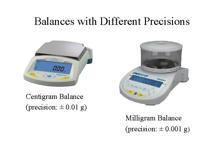 Balances with Different Precisions Centigram Balance (precision: ± 0. 01 g) Milligram Balance (precision: