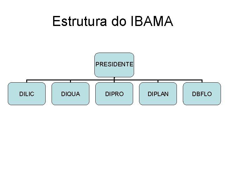 Estrutura do IBAMA PRESIDENTE DILIC DIQUA DIPRO DIPLAN DBFLO