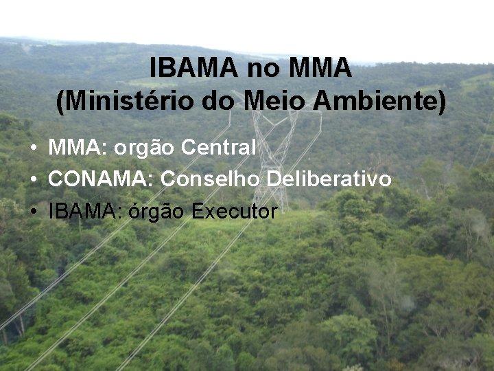 IBAMA no MMA (Ministério do Meio Ambiente) • • • MMA: orgão Central CONAMA: