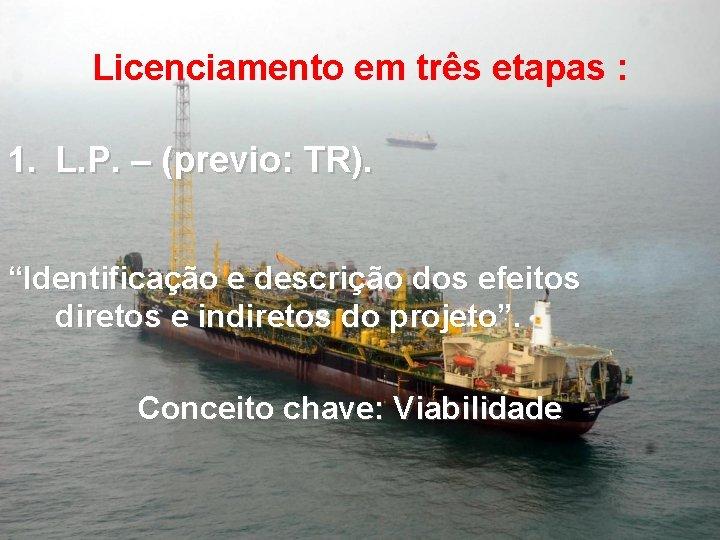 """Licenciamento em três etapas : 1. L. P. – (previo: TR). """"Identificação e descrição"""