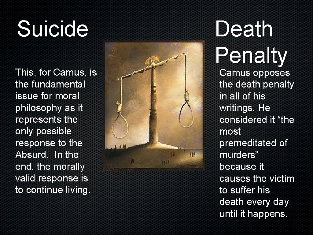 Suicide This, for Camus, is the fundamental issue for moral philosophy as it represents