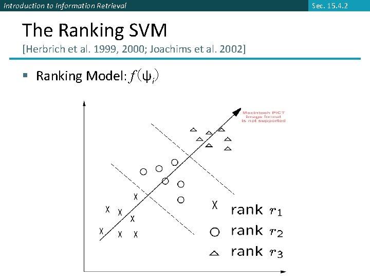 Introduction to Information Retrieval The Ranking SVM [Herbrich et al. 1999, 2000; Joachims et