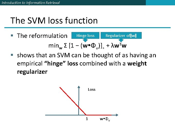 Introduction to Information Retrieval The SVM loss function Regularizer of‖w‖ § The reformulation Hinge
