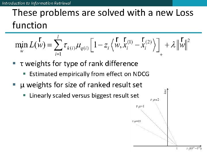Introduction to Information Retrieval These problems are solved with a new Loss function §