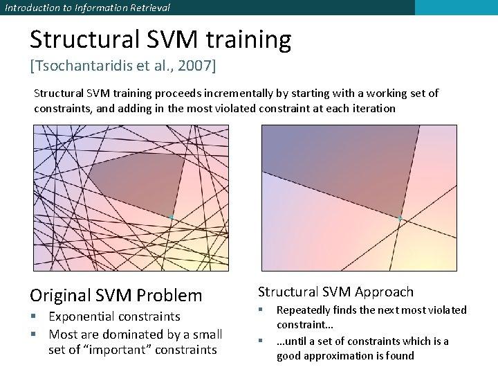 Introduction to Information Retrieval Structural SVM training [Tsochantaridis et al. , 2007] Structural SVM