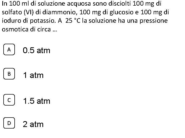 In 100 ml di soluzione acquosa sono disciolti 100 mg di solfato (VI) di