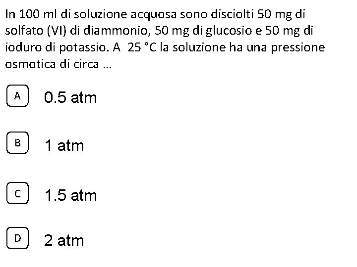 In 100 ml di soluzione acquosa sono disciolti 50 mg di solfato (VI) di