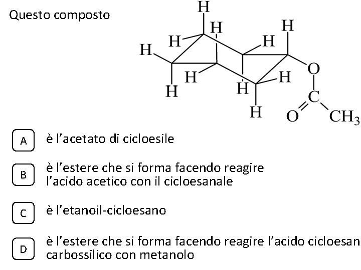 Questo composto A è l'acetato di cicloesile B è l'estere che si forma facendo