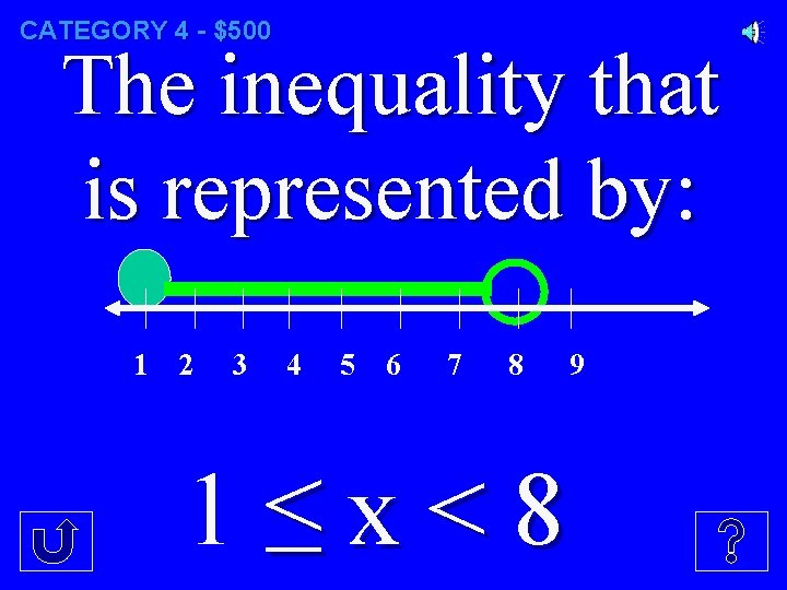CATEGORY 4 - $500 The inequality that is represented by: 1 2 3 4