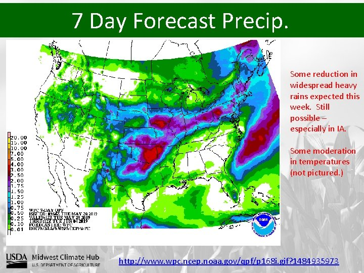 7 Day Forecast Precip. Some reduction in widespread heavy rains expected this week. Still