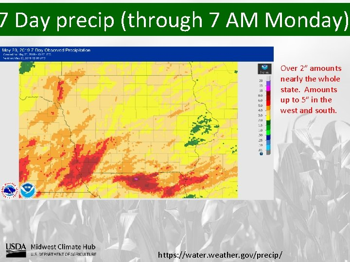 """7 Day precip (through 7 AM Monday) Over 2"""" amounts nearly the whole state."""
