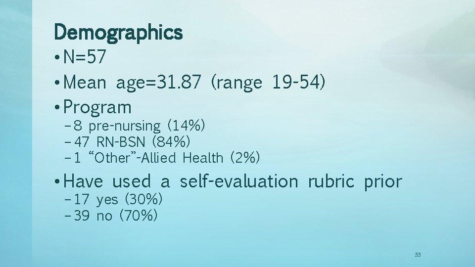 Demographics • N=57 • Mean age=31. 87 (range 19 -54) • Program – 8