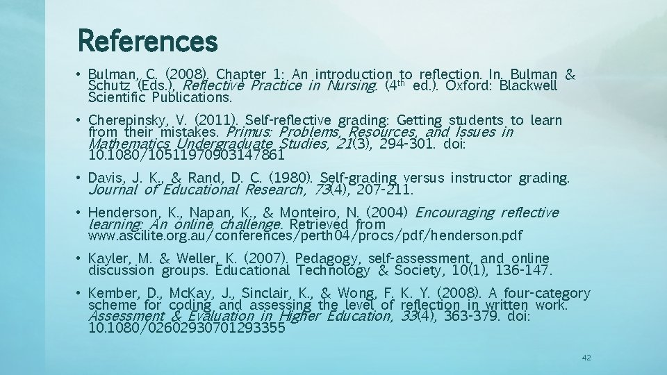 References • Bulman, C. (2008). Chapter 1: An introduction to reflection. In. Bulman &