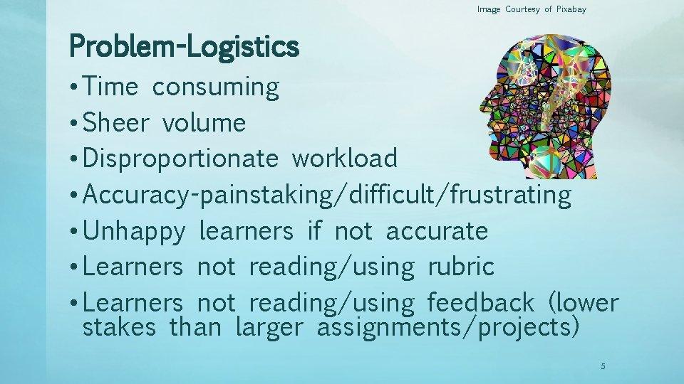 Image Courtesy of Pixabay Problem-Logistics • Time consuming • Sheer volume • Disproportionate workload