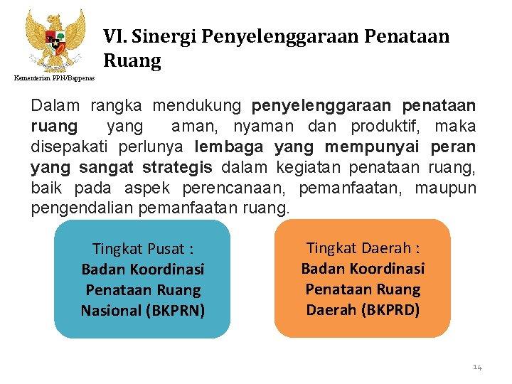 VI. Sinergi Penyelenggaraan Penataan Ruang Kementerian PPN/Bappenas Dalam rangka mendukung penyelenggaraan penataan ruang yang