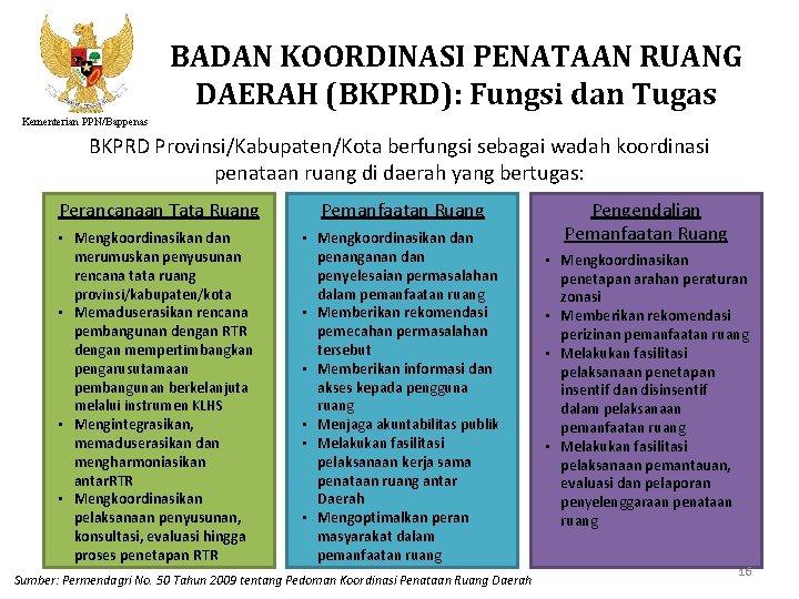 BADAN KOORDINASI PENATAAN RUANG DAERAH (BKPRD): Fungsi dan Tugas Kementerian PPN/Bappenas BKPRD Provinsi/Kabupaten/Kota berfungsi