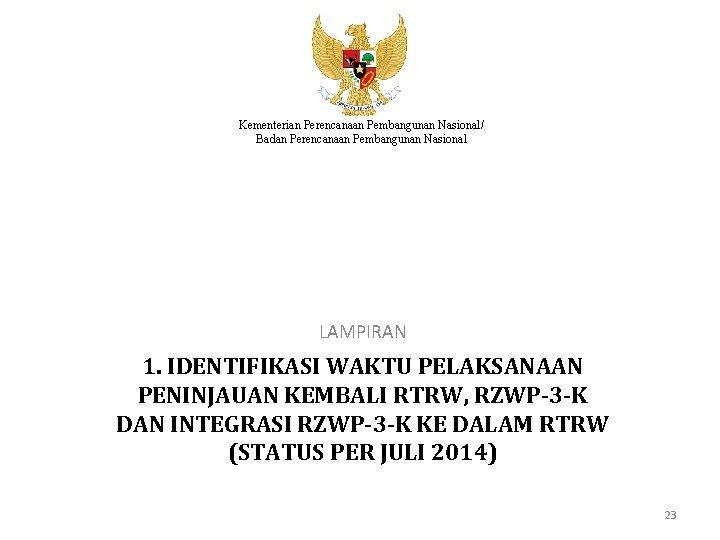 Kementerian Perencanaan Pembangunan Nasional/ Badan Perencanaan Pembangunan Nasional LAMPIRAN 1. IDENTIFIKASI WAKTU PELAKSANAAN PENINJAUAN