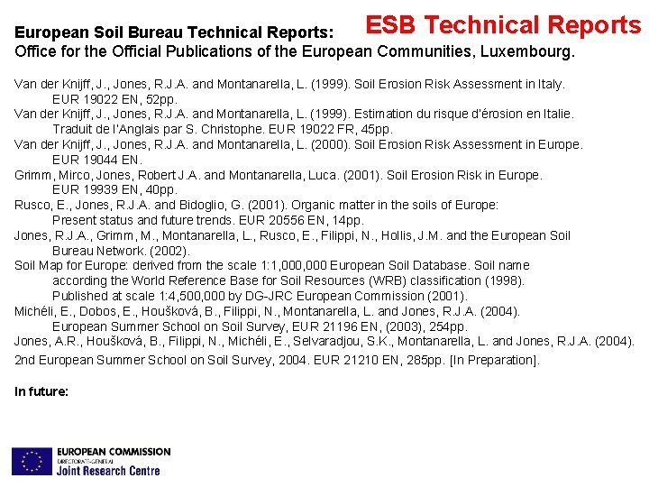 ESB Technical Reports European Soil Bureau Technical Reports: Office for the Official Publications of