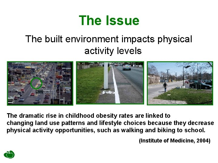 The Issue The built environment impacts physical activity levels The dramatic rise in childhood