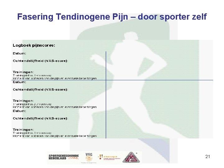Fasering Tendinogene Pijn – door sporter zelf 21