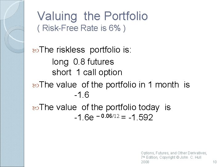 Valuing the Portfolio ( Risk-Free Rate is 6% ) The riskless portfolio is: long