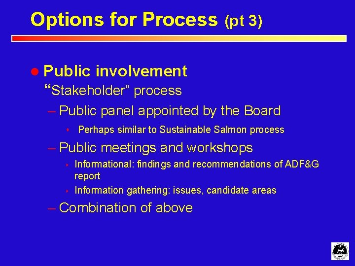 """Options for Process (pt 3) l Public involvement """"Stakeholder"""" process – Public panel appointed"""
