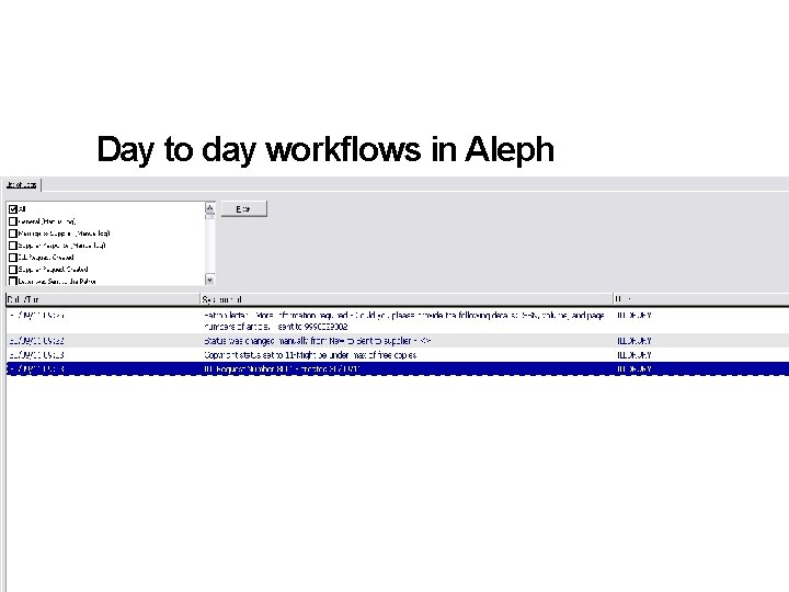 Day to day workflows in Aleph • Communicating with the end user 13