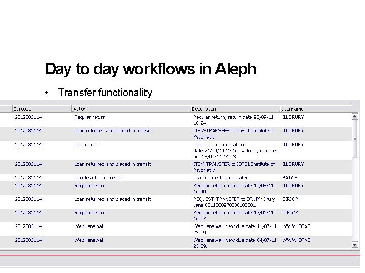 Day to day workflows in Aleph • Transfer functionality 15