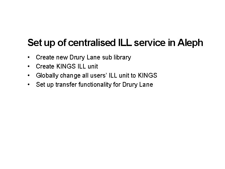 Set up of centralised ILL service in Aleph • • Create new Drury Lane
