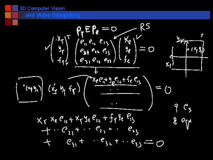 3 D Computer Vision and Video Computing