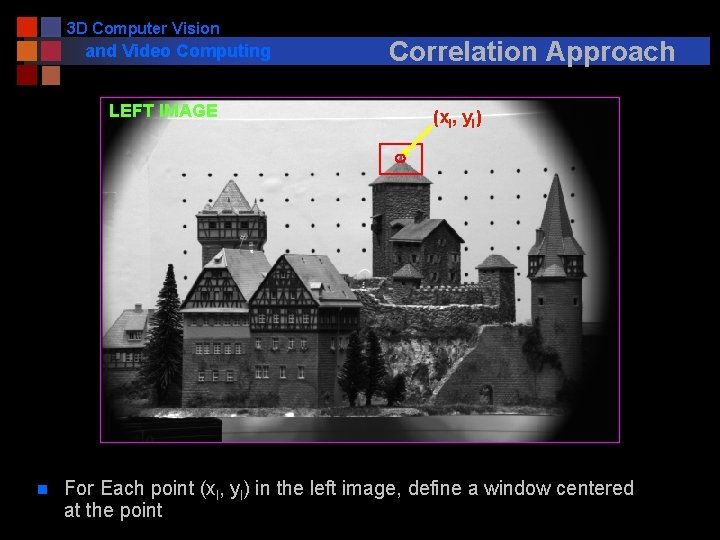 3 D Computer Vision and Video Computing LEFT IMAGE n Correlation Approach (xl, yl)