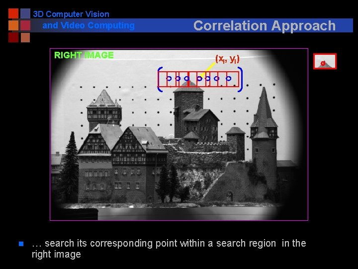 3 D Computer Vision and Video Computing RIGHT IMAGE n Correlation Approach (xl, yl)