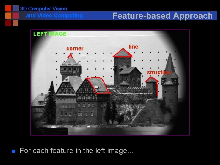 3 D Computer Vision and Video Computing Feature-based Approach LEFT IMAGE corner line structure