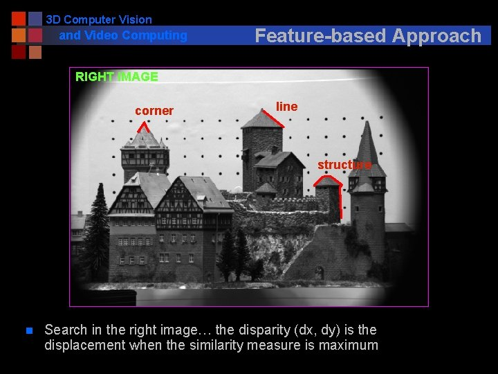 3 D Computer Vision and Video Computing Feature-based Approach RIGHT IMAGE corner line structure